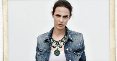ZARA Lookbook: Studded Denim Jacket & Emerald Necklace
