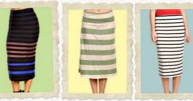 Striped Midi Skirts