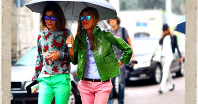 Anna Dello Russo - Green Croc & Pink Pants - Street Style Favorites