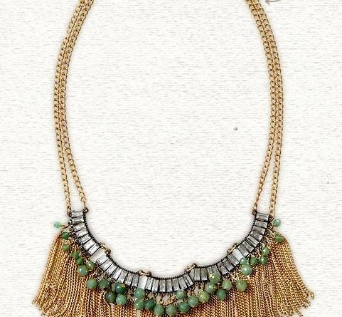 Sabine Rhinestone Fringe Necklace