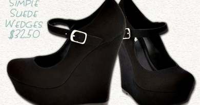 Simple Black Suede Mary-Jane Wedges - $32.50