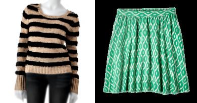Striped Shirt Printed Skirt
