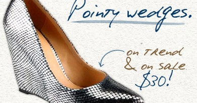 Monday Wedgie: Pointy Wedges for $30