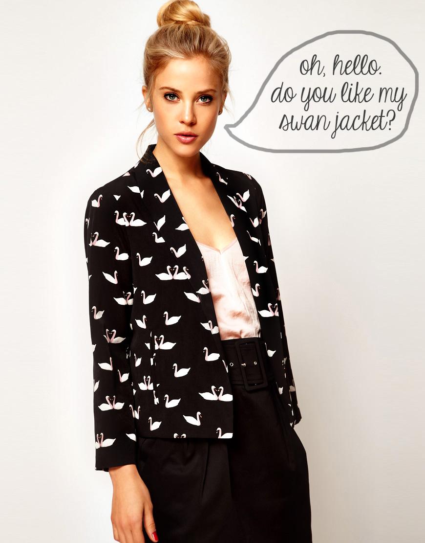 Printed Blazers: Swan Jacket
