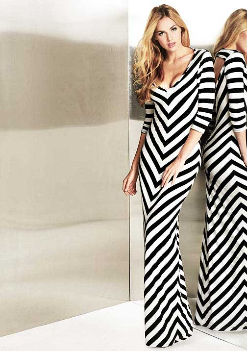 Graphic Black & White Maxi Dress