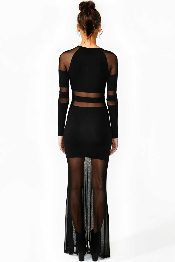 Nasty Gal Sheer Shadow Stripe Dress