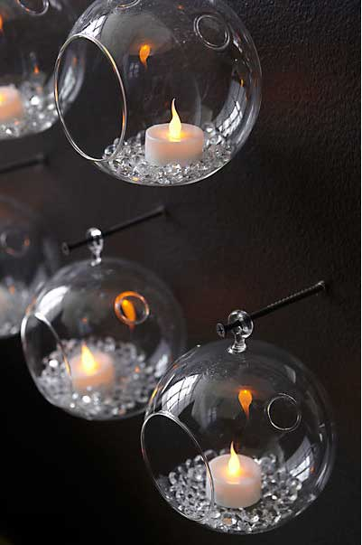Whirly Glass Hanging Candle Holders