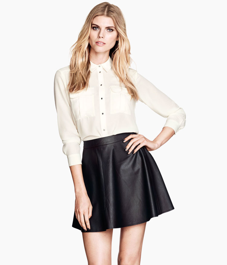 H&M Faux Leather Skater Skirt