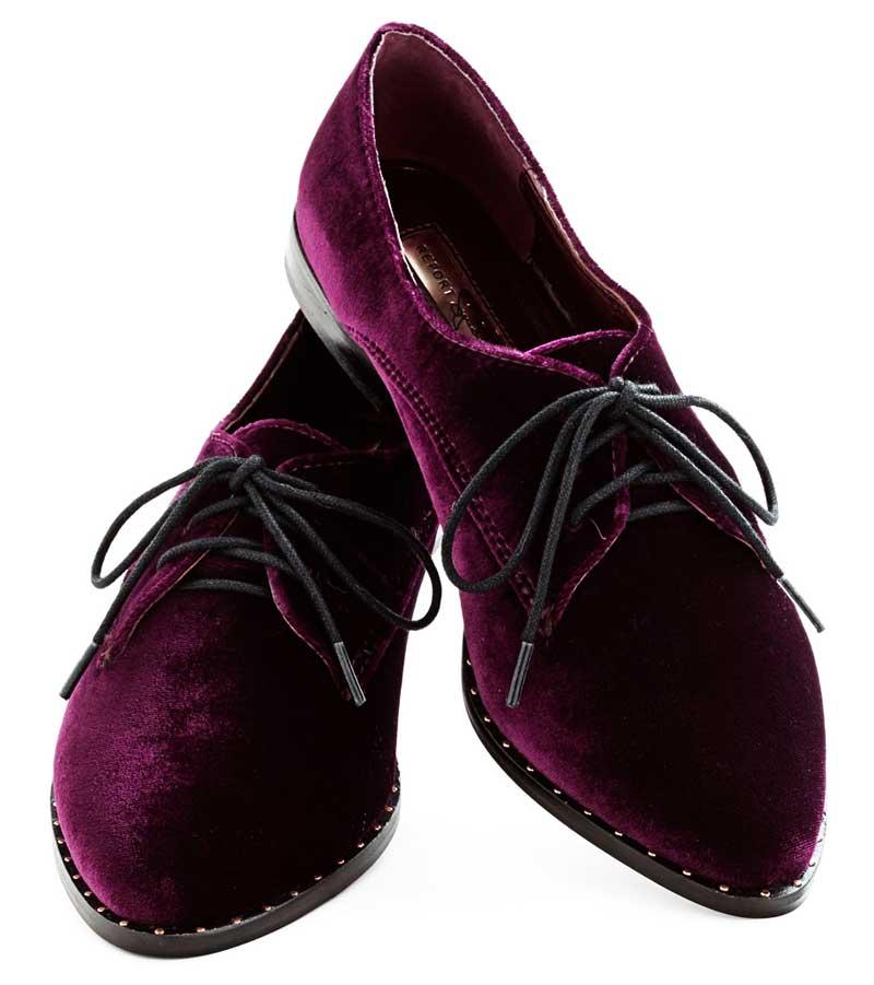 Purple Velvet Oxfords