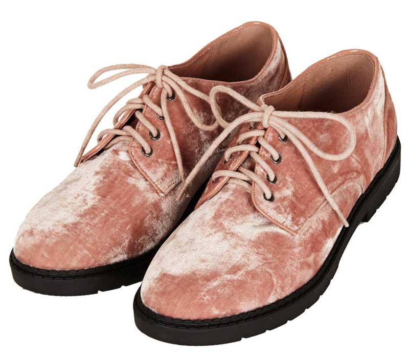 Topshop Metro Velvet Lace Up Shoes