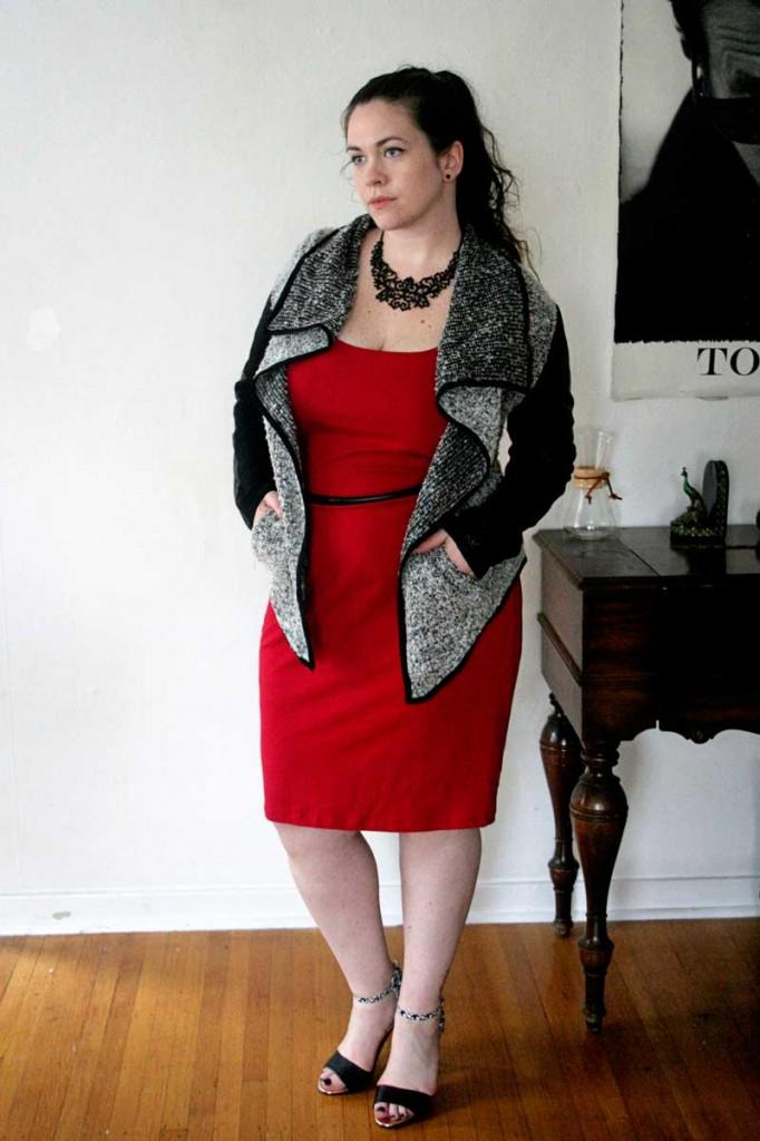 Leather Sleeve Sweater & Red Midi Dress