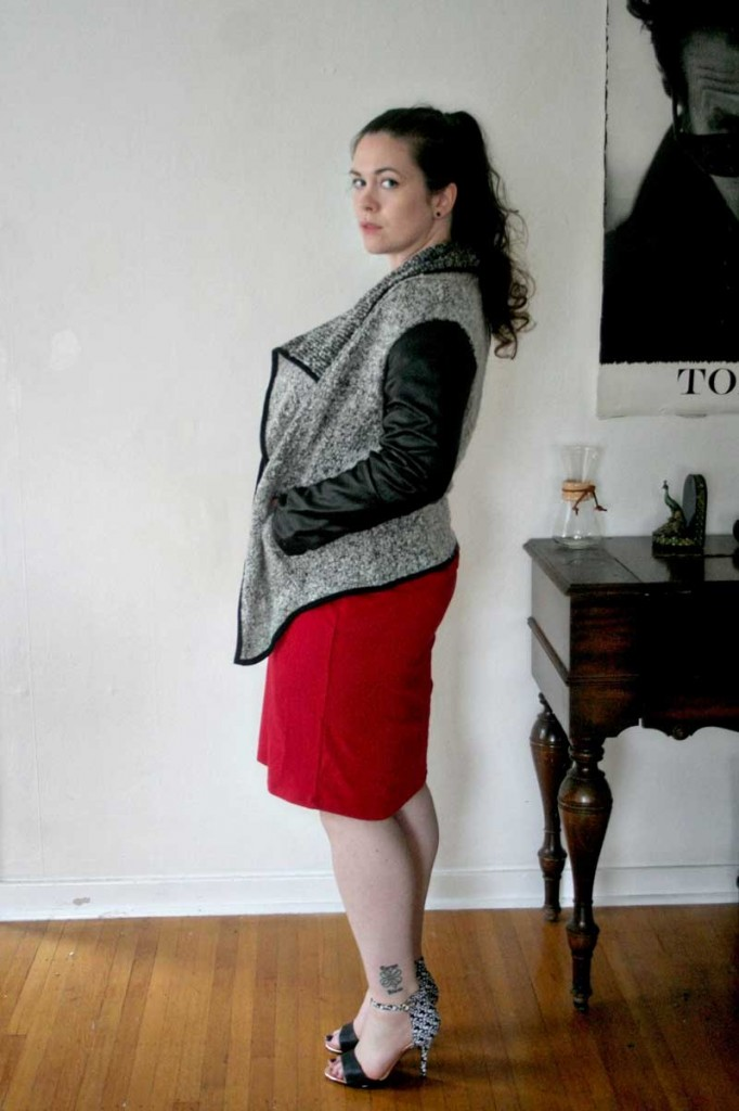 Red Midi Dress & Faux Leather Sleeve Sweater