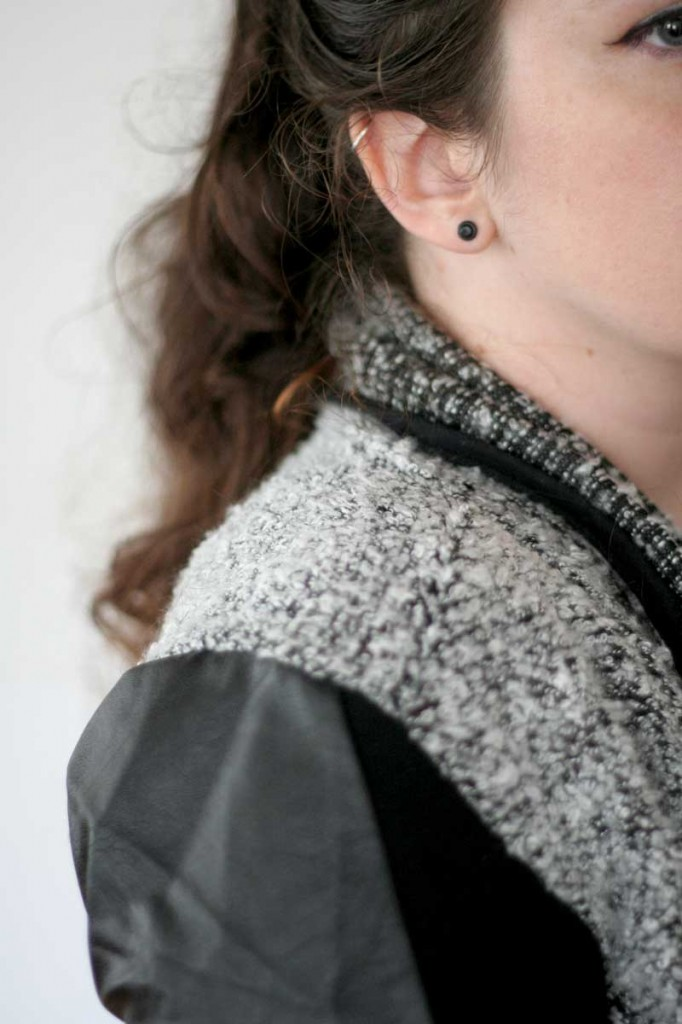 Faux Leather Sleeve Boucle Sweater