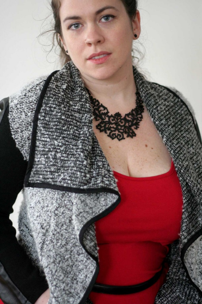 Faux Leather Sleeved Boucle Sweater