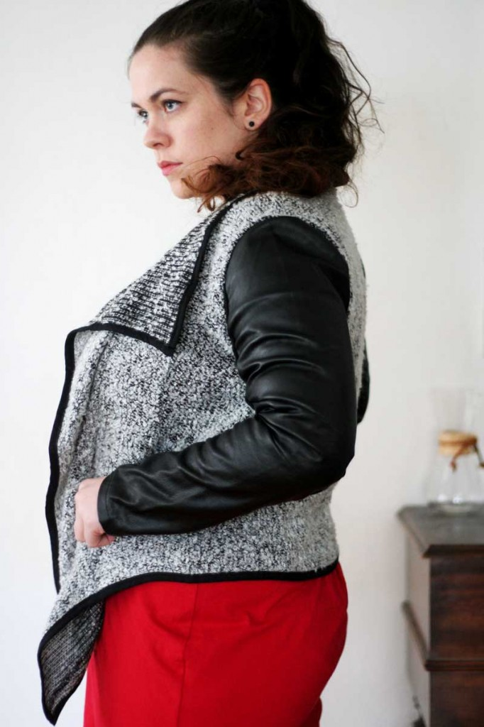 Leather Sleeve Boucle Sweater
