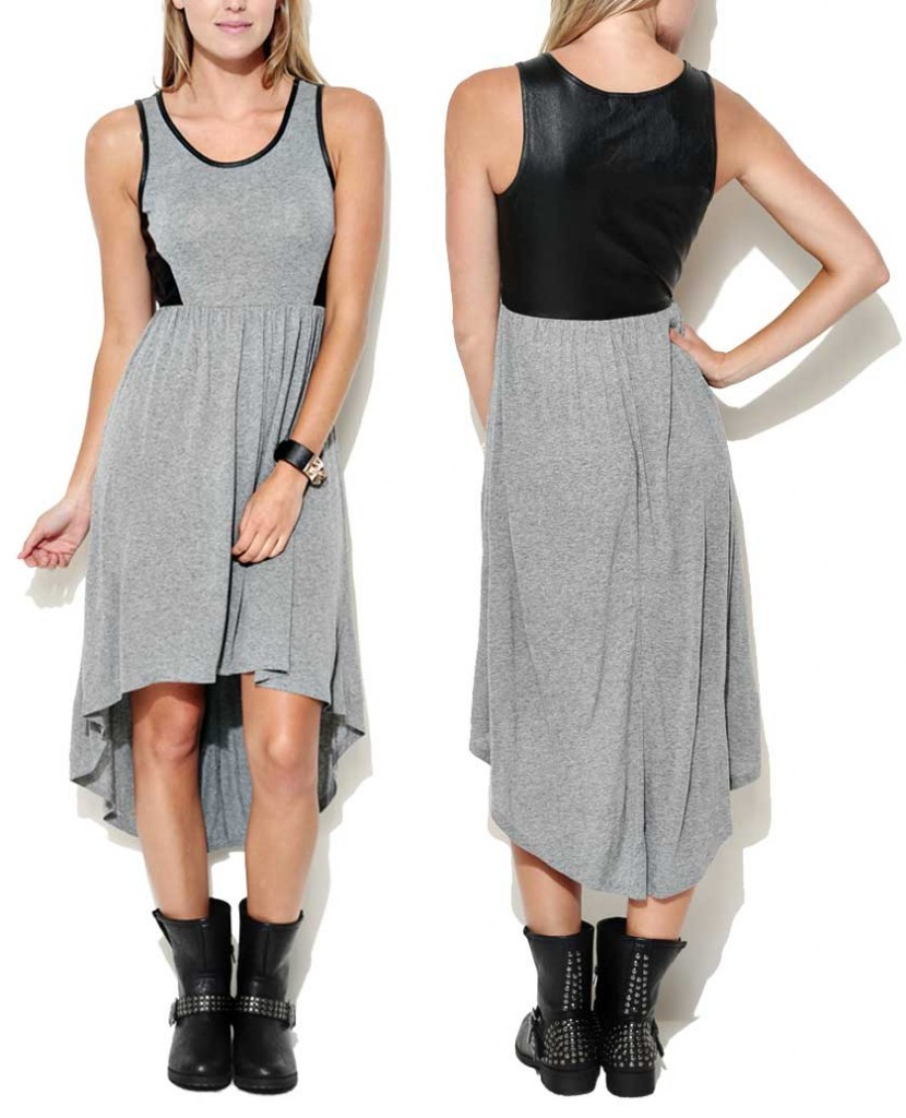 Wet Seal Vegan Leather Back Hi-Low Dress