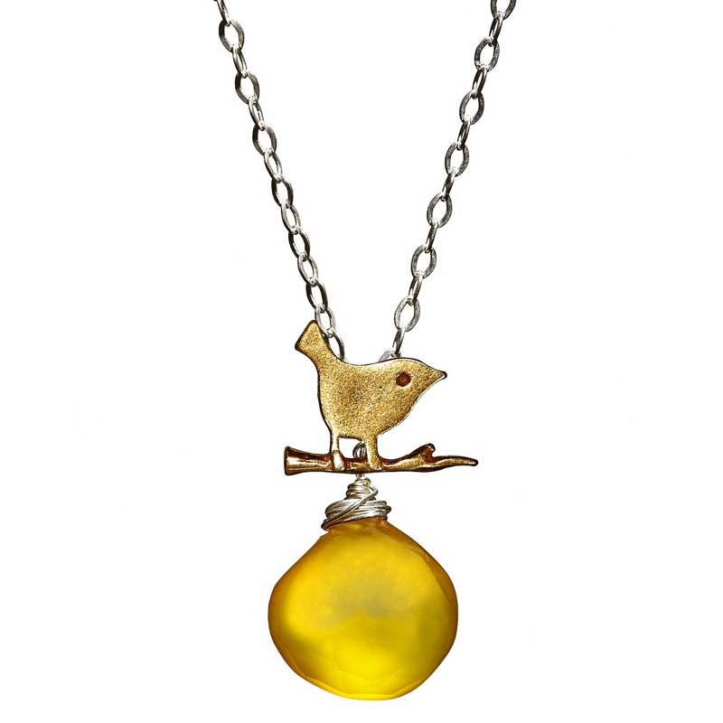 Gemleys Butterscotch Petal Golden BIrd Necklace