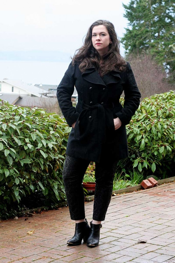 Ruffled Pea Coat & Damask Brocade Pants