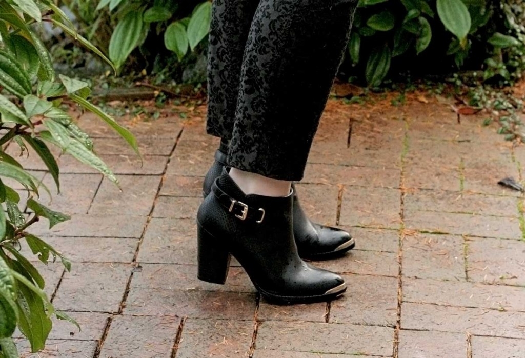 Gold Metal Tip Ankle Boots