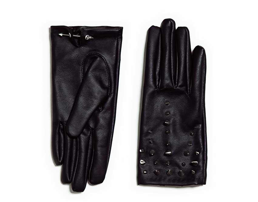 ZARA Studded Faux Leather Gloves