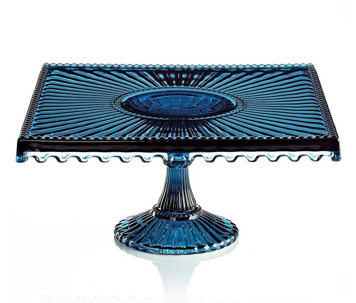 Godinger Blue Glass Cake Stand