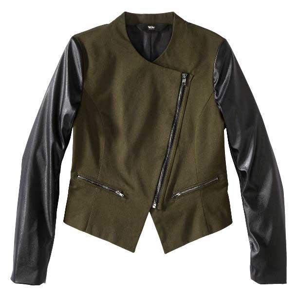 Mossimo Faux Leather Sleeve Moto Jacket