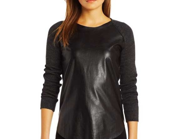 Daily Deal: NY Collection Faux Leather Sleeve Baseball Tee