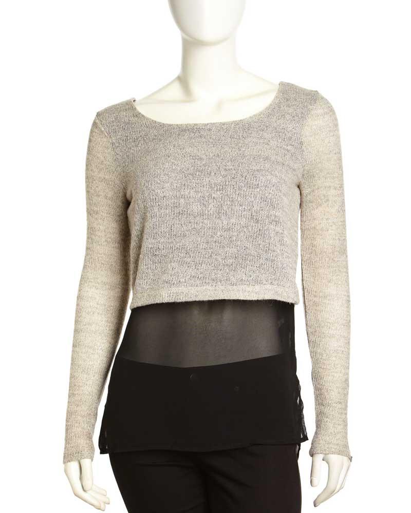Dex Knit and Chiffon Cropped Sweater