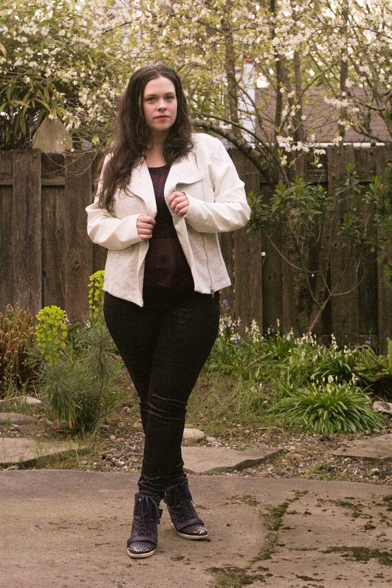 I'm Wearing: Satin Jean Leggings & Faux Leather Moto Jacket