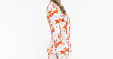 Oak73 Ikat Floral Suit Blazer