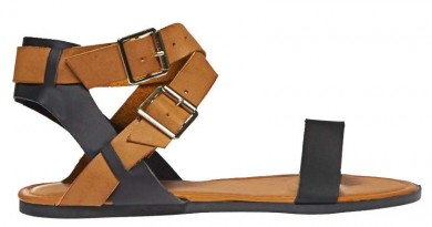 Best Minimalist Sandals: Two Tone Cross Strap Sandals