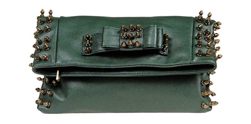 Dark Green MIA Studded Fold Over Clutch