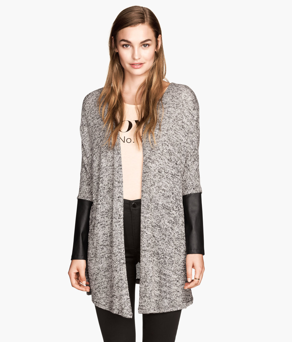 HM Fine Knit Faux Leather Sleeve Cardigan