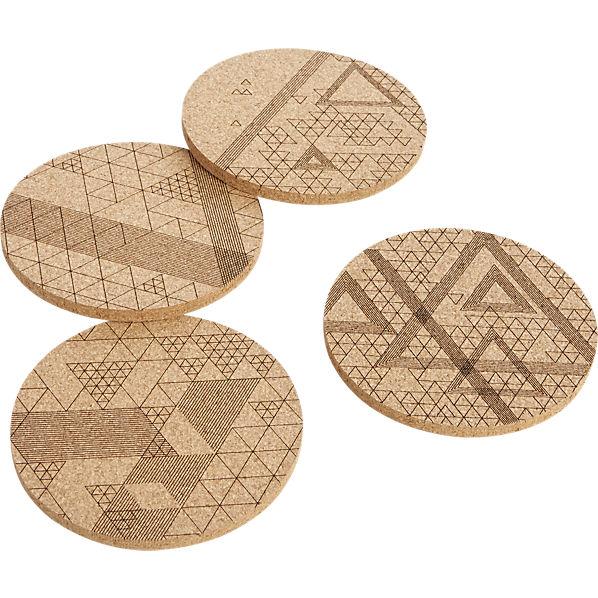 CB2 Set of 4 Cork Coasters with Geometric Designs