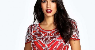 Boohoo Evelyn Beaded Red Dress