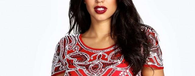 Boohoo Evelyn Beaded Red Dress