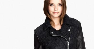 Wool Blend Motorcycle Jacket Hip