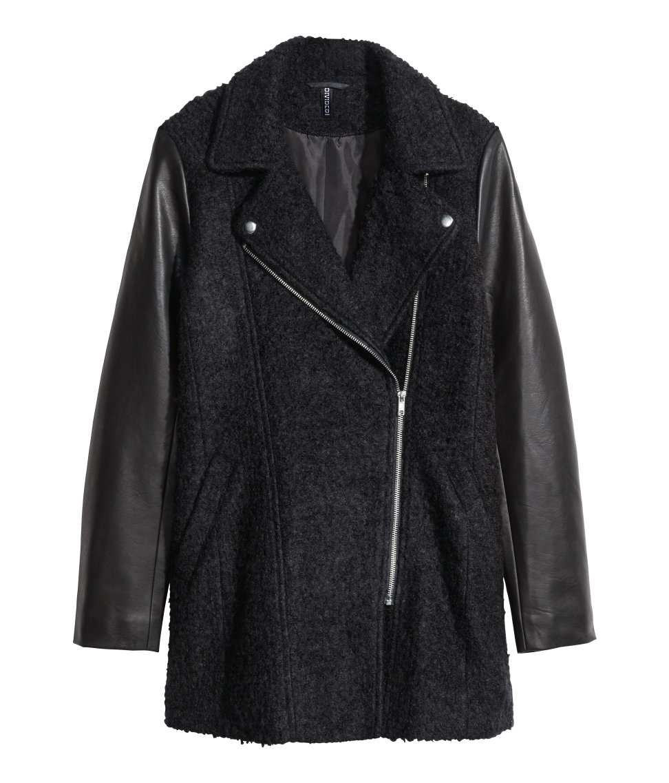 H&M Divided Wool Blend Motorcycle Jacket