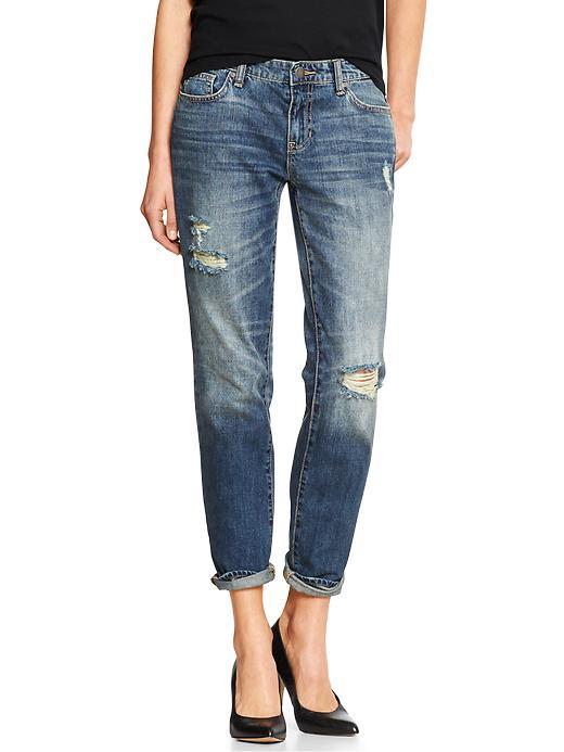 deconstructed boyfriend fit jeans