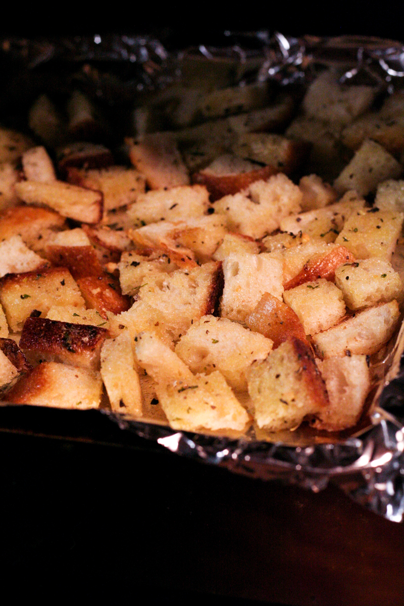 Baked Garlic & Herb Croutons