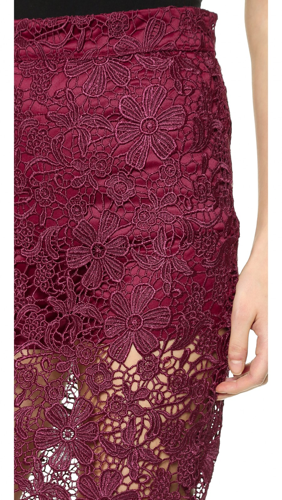 re:named Lace Overlay Skirt Oxblood