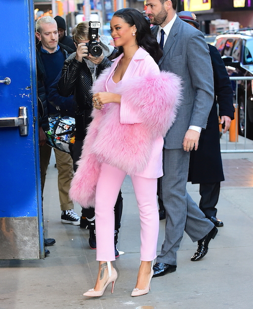 Rihanna is 'Pretty in Pink' fur at 'Good Morning America' in New York City