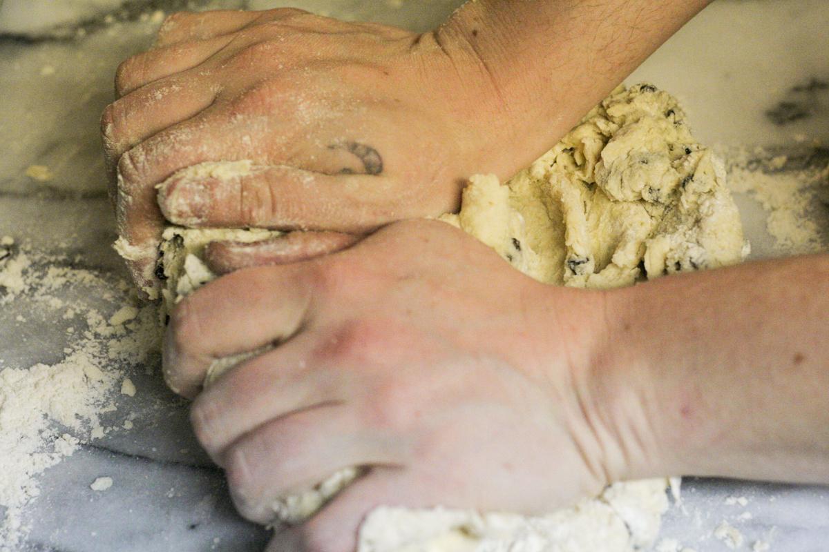 Kneading Irish Soda Bread