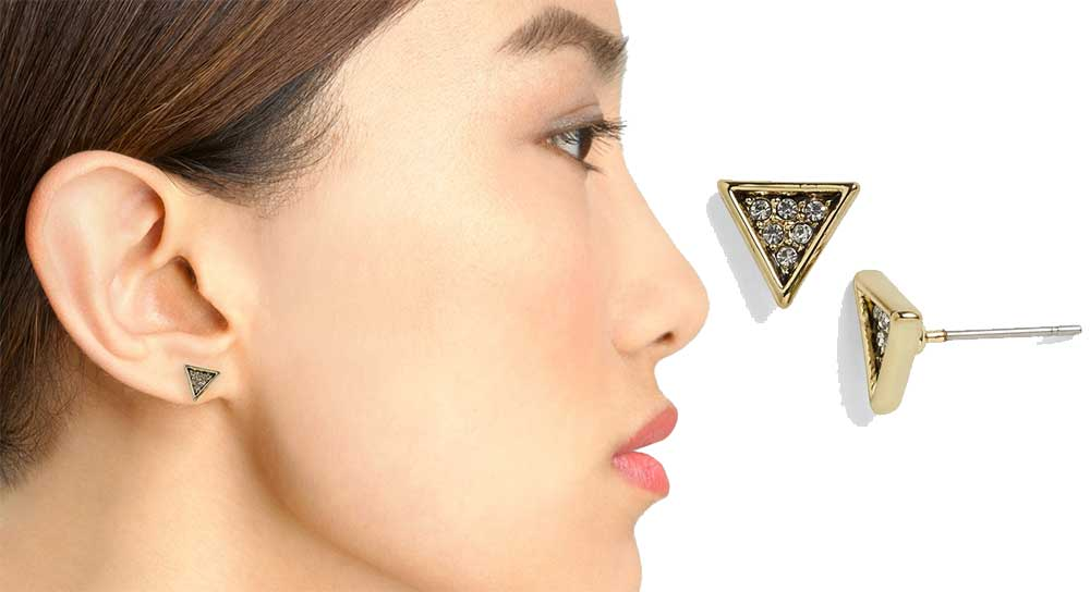 House of Harlow 1960  Electrum Triangle Earrings