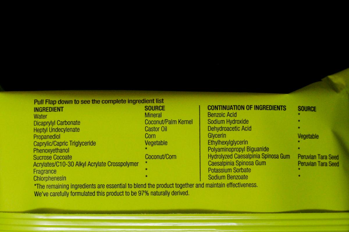 Neutrogena Naturals Purifying Towelettes Ingredients