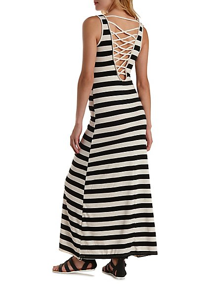 Charlotte Russe Strappy Back Striped Maxi Dress, $28.99