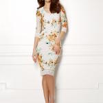Eva Mendes Orange Floral Dress 1
