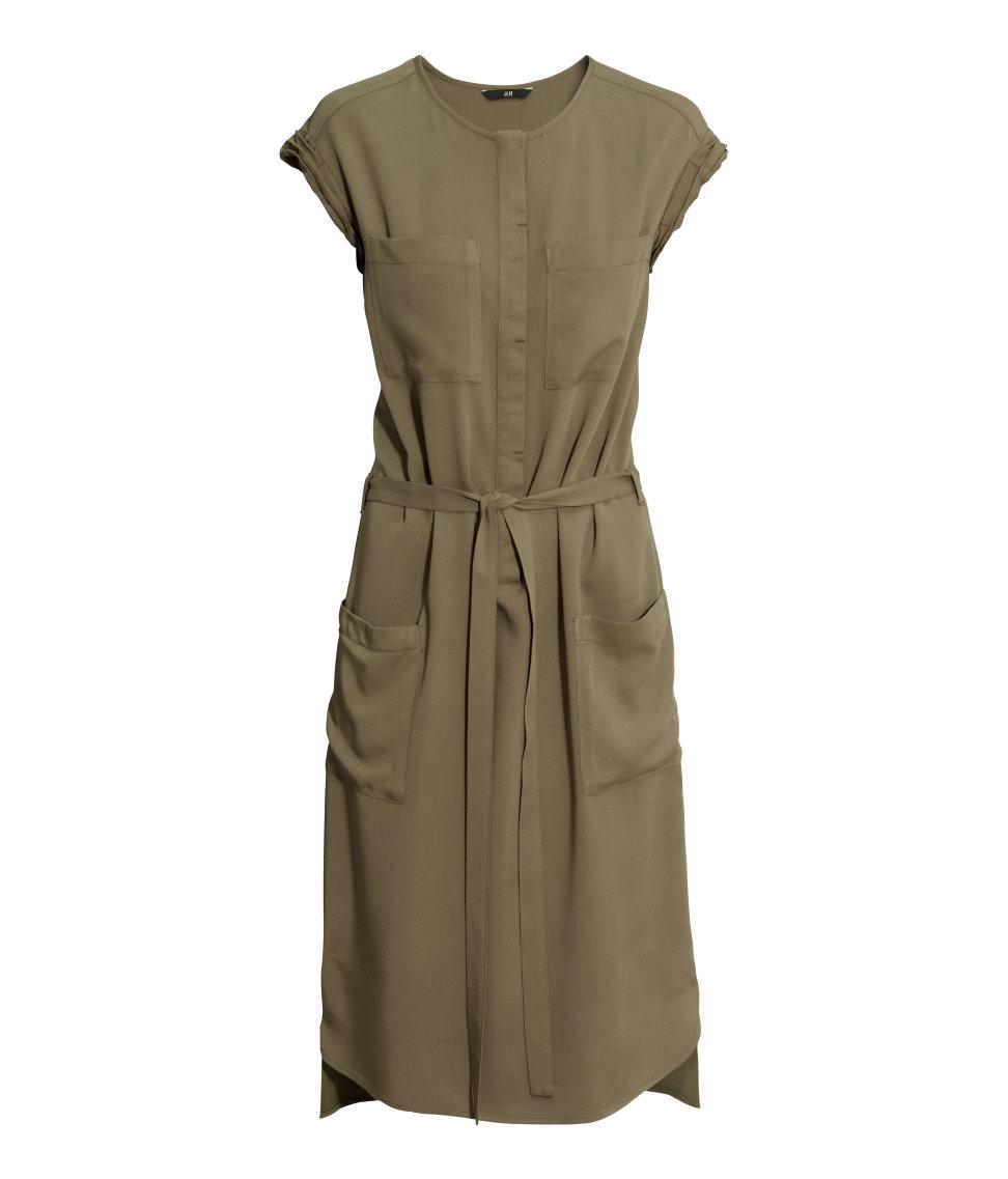 H&M Army Green Shirt Waist Dress 1