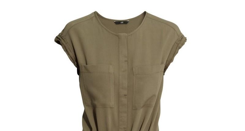 HM Army Green Shirt Waist Dress 1