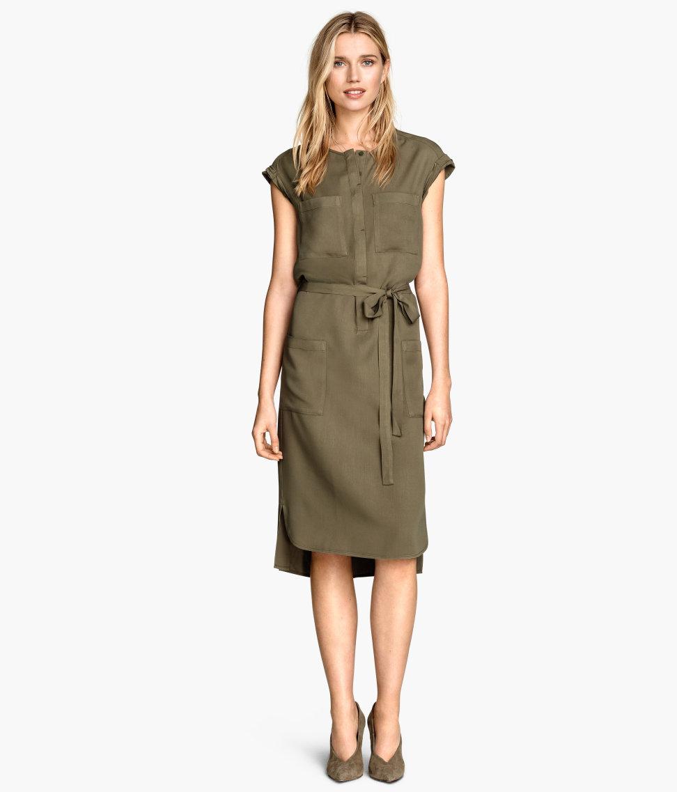 HM Army Green Shirt Waist Dress